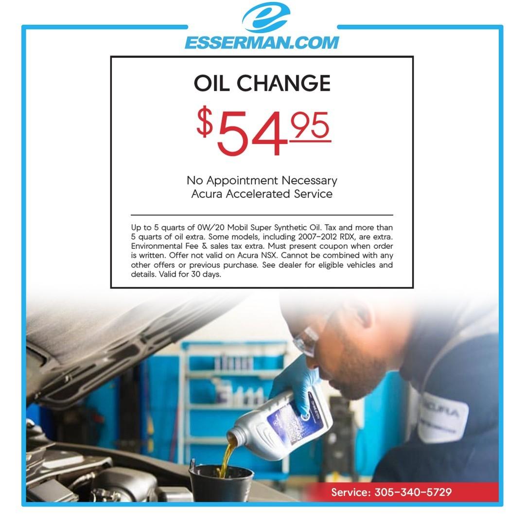 Oil Change Deal: $54.95 Esserman International Acura